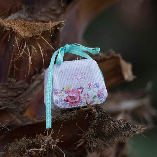μπομπονιέρα μεταλλικό βαλιτσάκι ροζ