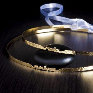 Ασημένια στέφανα γάμου με ονόματα σφυρήλατα